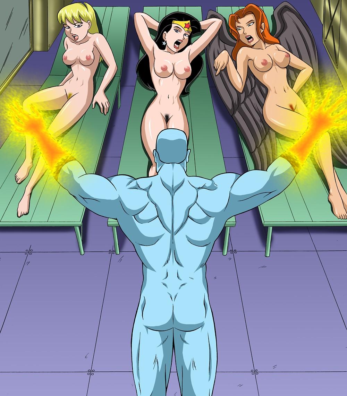 3girls breasts captain_atom hawkgirl justice_hentai_bonus multiple_girls nipples nude pussy supergirl tanning wonder_woman