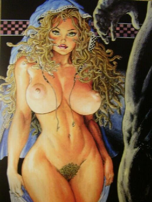 big_breasts blonde breasts budd_root cavewoman lipstick medusa nipples pussy snakes