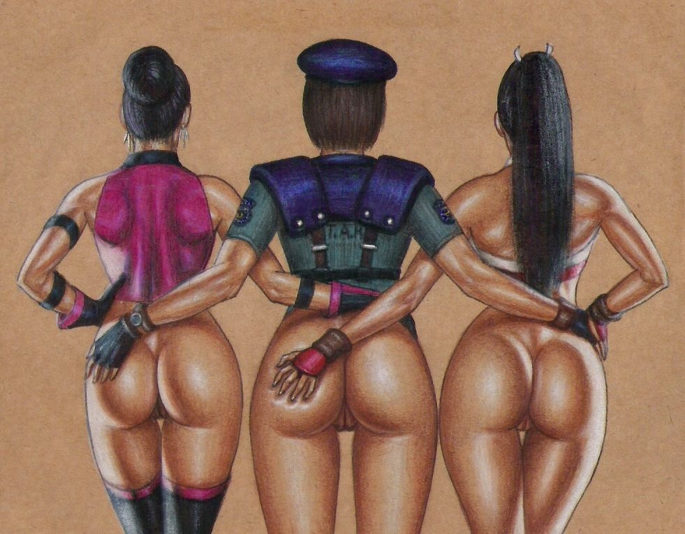 3_girls ass ass_grab black_hair capcom dark_skin dat_ass edithemad gloves hat jill_valentine king_of_fighters mai_shiranui mileena mortal_kombat multiple_girls policewoman pussy resident_evil snk uniform
