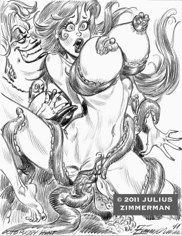 2011 disney julius_zimmerman_(artist) monochrome princess_ariel tagme tentacle the_little_mermaid ursula witch
