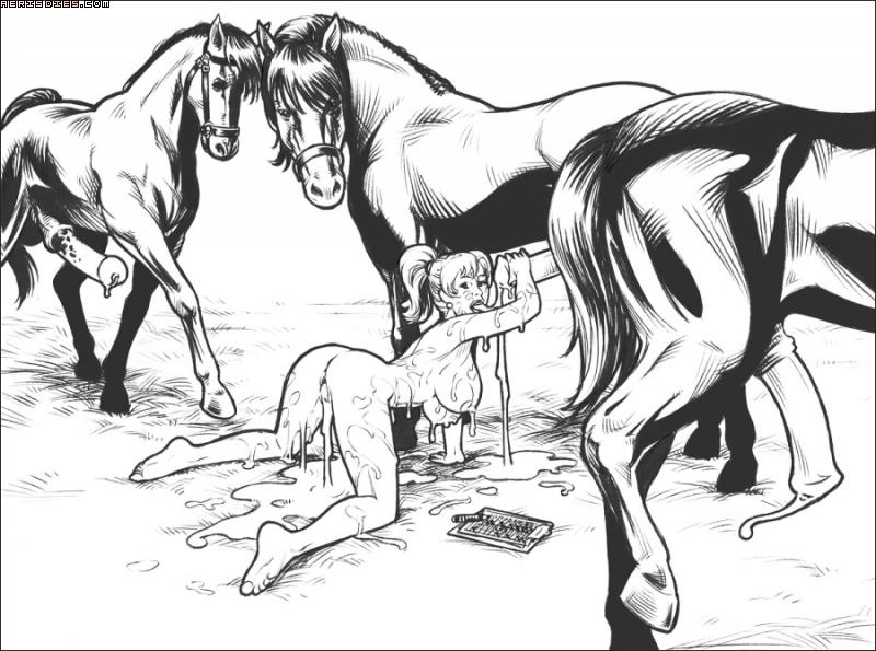 1_girl 1girl 3_feral_horse 3_males after_sex all_fours breasts butt cum cum_in_mouth cum_in_pussy cum_leaking cum_pool female female/feral female_human female_human/feral_horse feral fur hair horse male male/female male_horse monochrome nude source_request stallion translation_request zoophilia