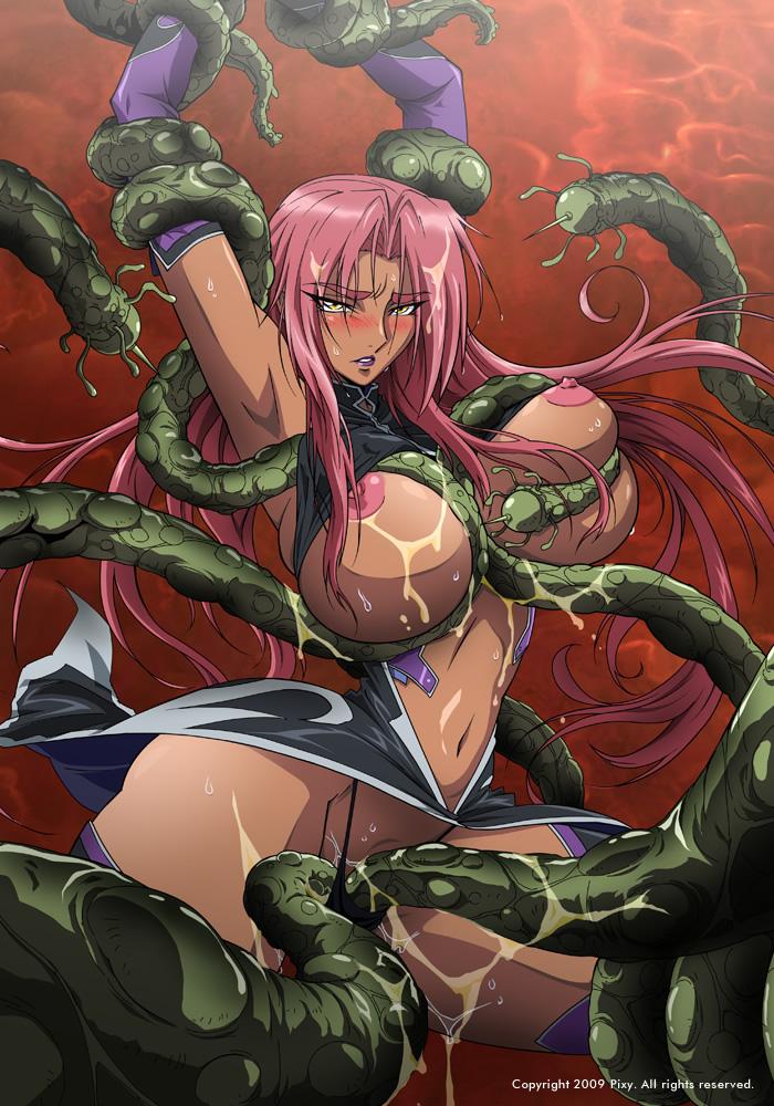 blush breasts dark_skin hair huge_breasts ingrid ingrid_(taimanin_asagi) large_breasts makai_kishi_ingrid nipples pink_hair rape restrained tentacle