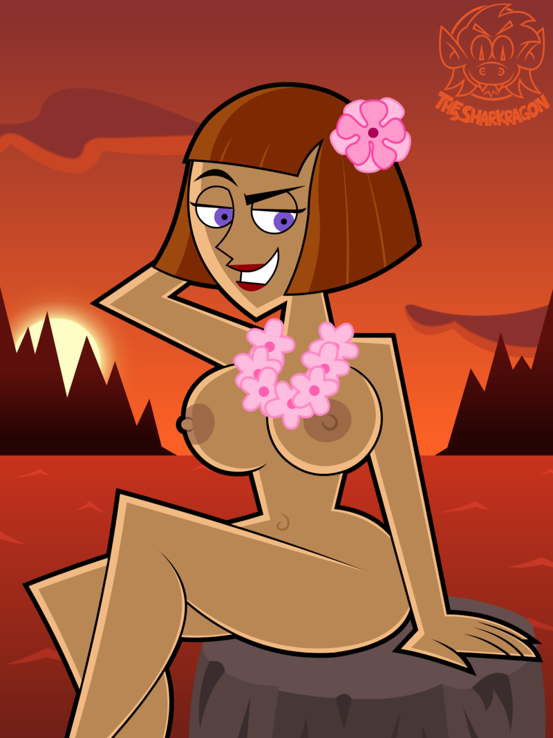 big_breasts breasts brown_hair danny_phantom erect_nipples flower flowers lipstick madeline_fenton milf nipples nude purple_eyes red_lipstick sexy sharkragon_(artist) short_hair solo