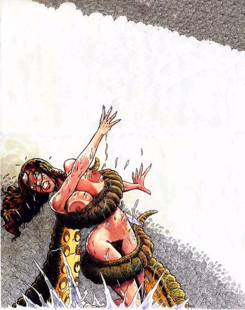 big_breasts breasts cavewoman meriem_cooper nude peril struggle tentacle wet