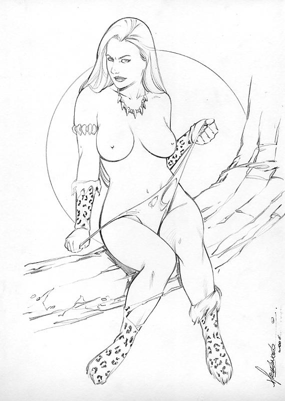 basement_comics breasts cavewoman meriem_cooper michelangelo nipples topless
