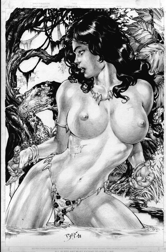 basement_comics breasts cavewoman dinosaur ed_benes meriem_cooper nipples topless
