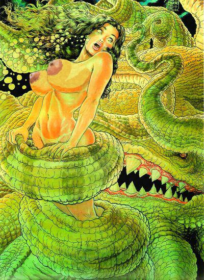 big_breasts breasts cavewoman meriem_cooper nude peril struggle tentacle underwater