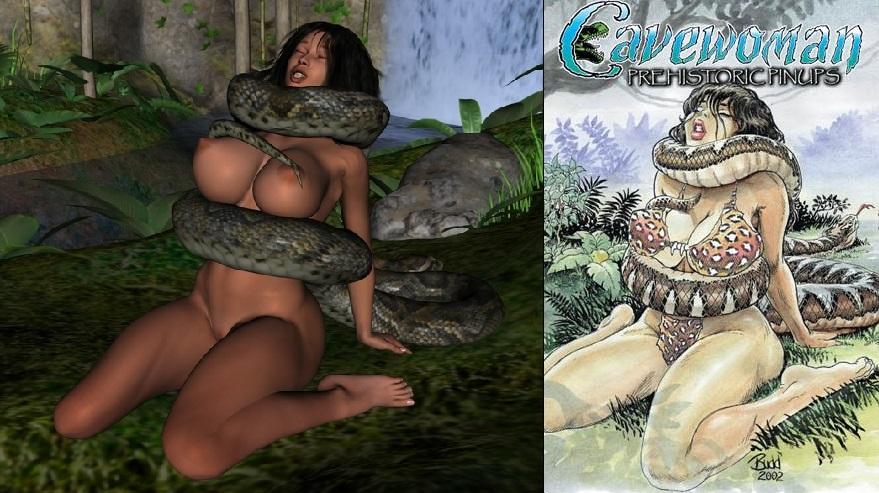3d big_breasts breasts cavewoman constriction meriem_cooper nude peril snake