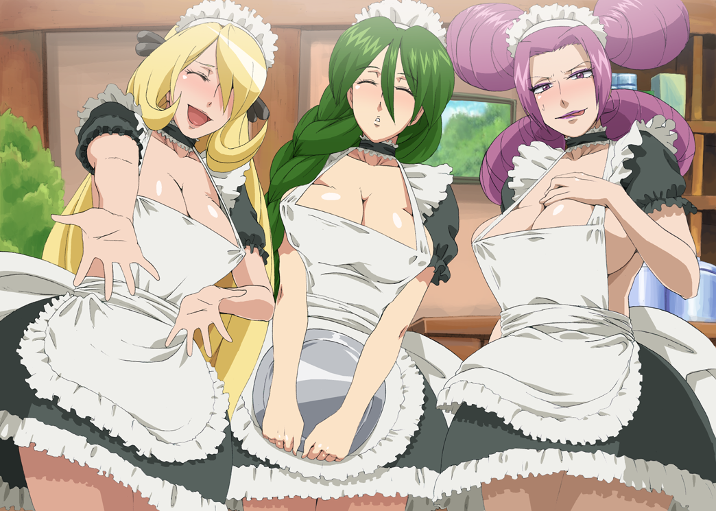 apron big_boobies blonde_hair braid breasts cheryl choker cleavage closed_eyes cynthia cynthia_(pokemon) eyes_closed eyeshadow fantina flirting frills green_hair hair_over_one_eye hairband hat horny_women huge_breasts jaga_note kissing lick lips lipstick long_hair maid maids makeup melissa_(pokemon) momi_(pokemon) multiple_girls natane_(pokemon) nipples no_bra pantyhose pokemon pokemon_(game) pokemon_dppt purple_eyes purple_hair purple_lipstick quad_tails seducing sexy shirona_(pokemon) sideboob single_braid skirt sluts sweatdrop tongue very_long_hair violet_eyes whores