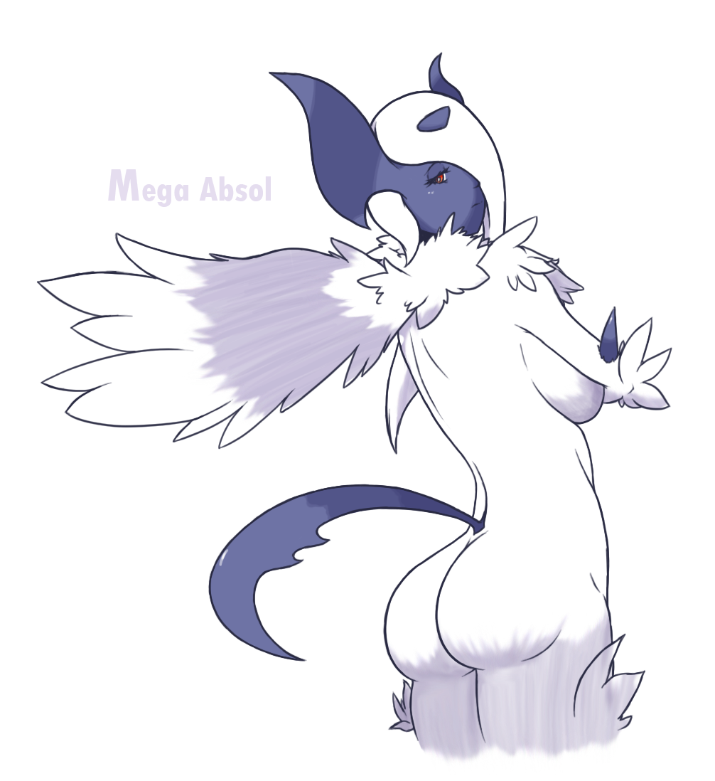 absol anthro black_skin breasts butt english_text eyelashes female frown fur furry horn looking_at_viewer mega_absol midnitez nintendo nude plain_background pokã©mon pokemon presenting presenting_hindquarters red_eyes shadow sideboob skin solo spikes standing text video_games white_background white_eyes white_fur wings