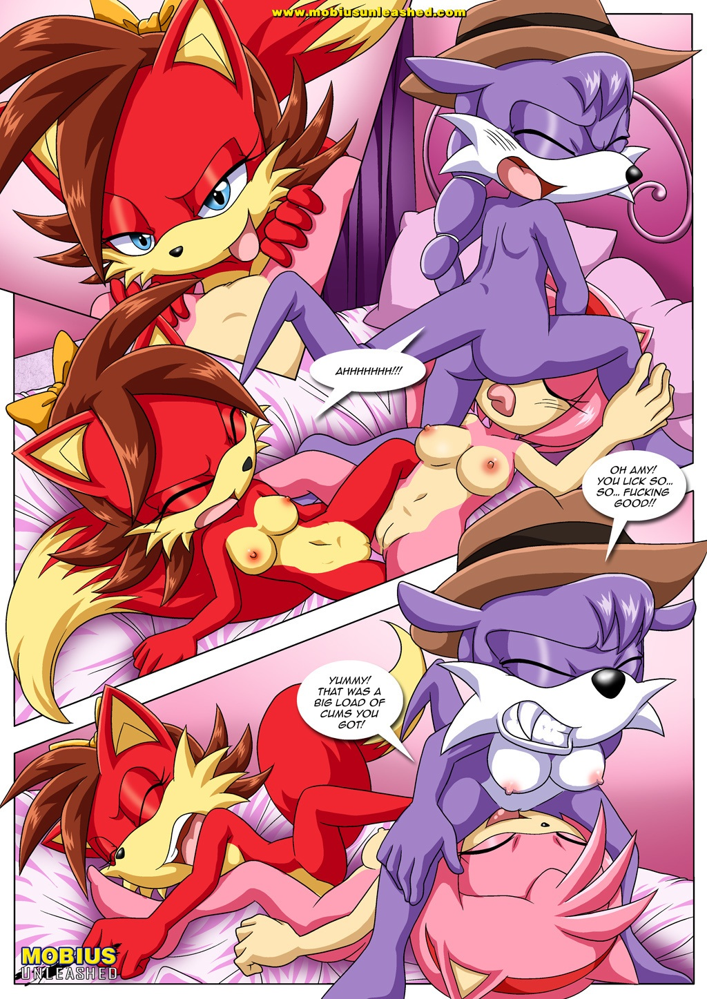 amy's_secret amy_rose barefoot fiona_fox lesbian licking mobius_unleashed nic_the_weasel pussy sega sex sonic sonic_(series) sonic_team text