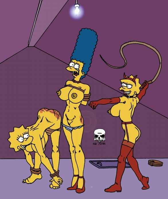 bondage lisa_simpson maggie_simpson marge_simpson the_fear the_fear_(artist) the_simpsons whip yellow_skin