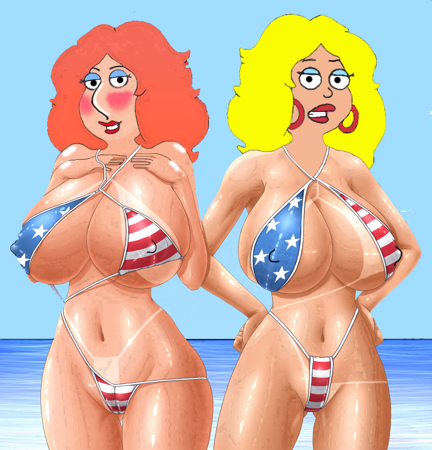 american_dad bikini blonde_hair breasts cameltoe crossover family_guy francine_smith hair huge_breasts lois_griffin nipples red_hair