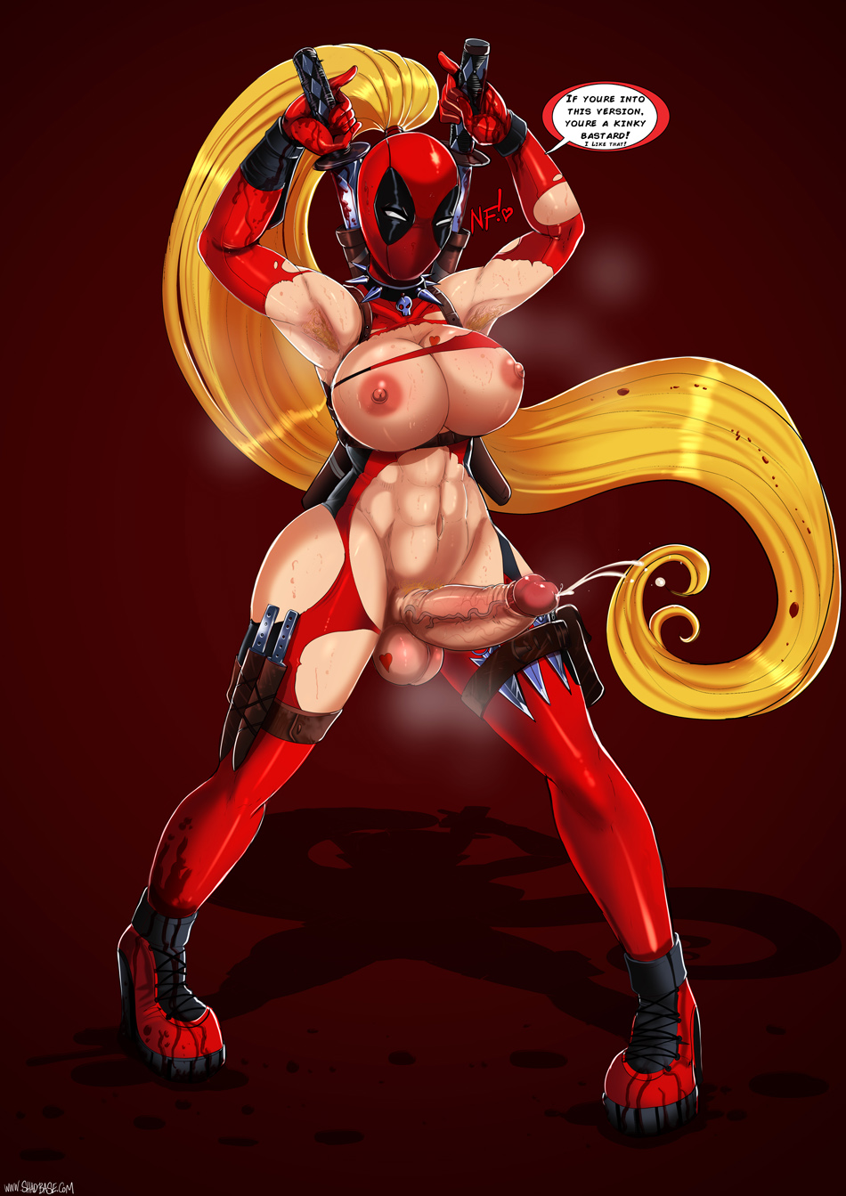 big_breasts breasts deadpool futanari genderswap intersex shadman