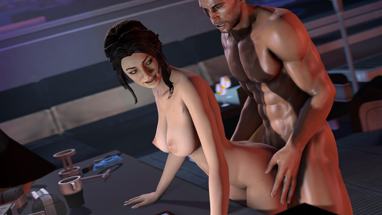 1girl 3d ass big_breasts breasts commander_shepard ltr300 male mass_effect miranda_lawson sex source_filmmaker