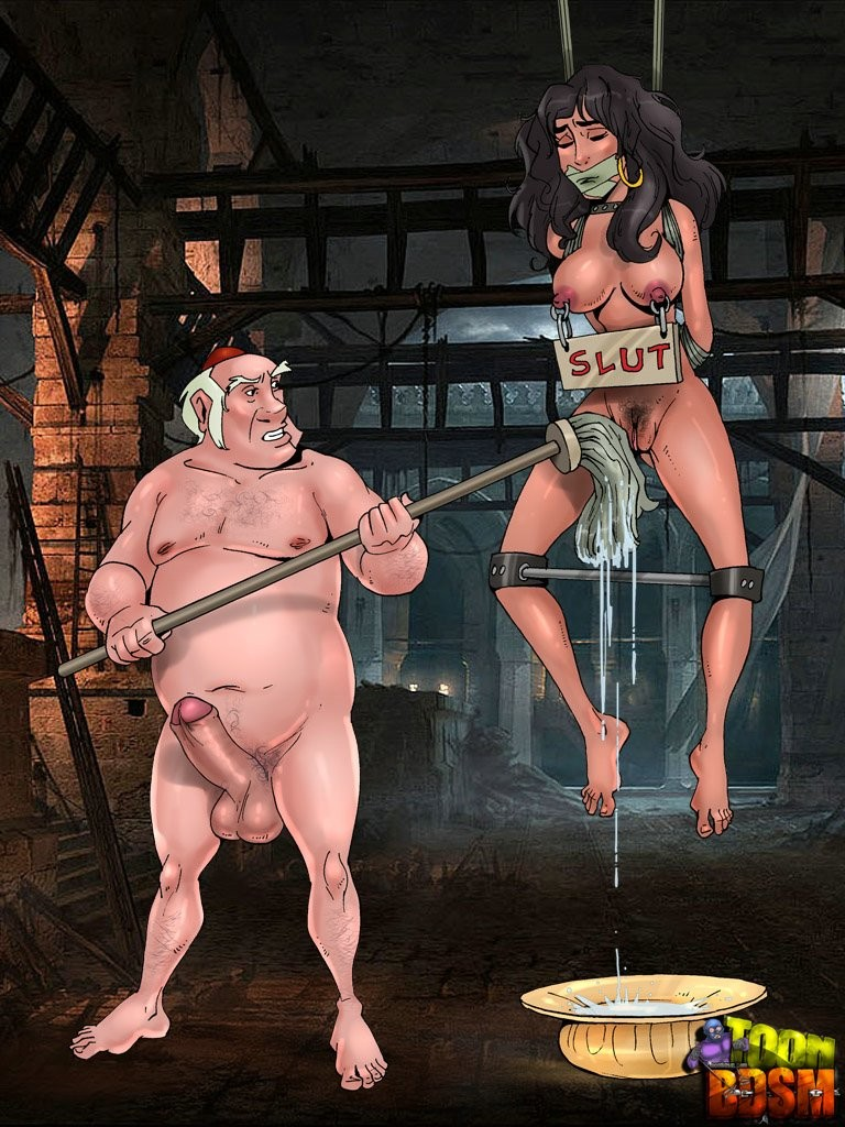 black_hair bondage breasts disney duo erection esmeralda female gypsy hair human human_only long_hair male male/female nipples nude penis pussy short_hair spread_legs standing testicles the_hunchback_of_notre_dame toon_bdsm white_hair
