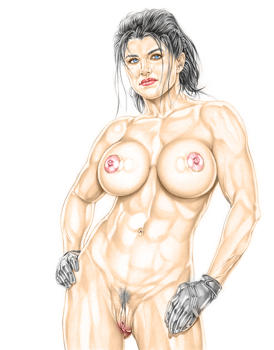 1girl actress angel_dust armando_huerta bare_shoulders belly big_breasts black_hair bodysuit breasts celeb celebrity deadpool female gina_carano gloves katana large_breasts legs marvel marvel_comics mask mma navel nipples pubic_hair pussy short_hair solo thighs vagina