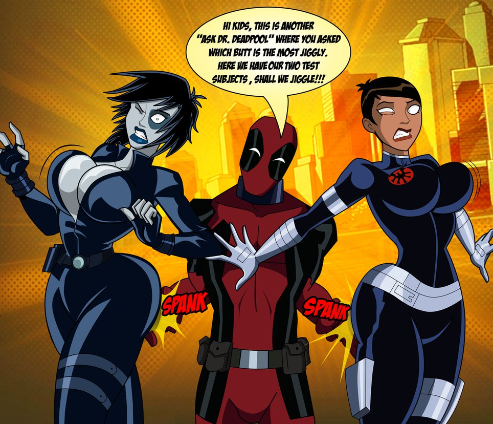 deadpool domino grimphantom grimphantom_(artist) spanking surprise