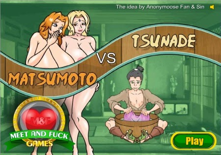 2girls bleach blonde_hair breasts game hair huge_breasts matsumoto_rangiku meet_and_fuck multiple_girls naruto nude orange_hair threesome tsunade