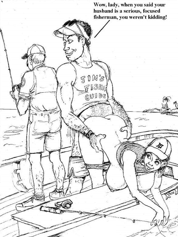 1_female 1_girl 2_boys 2_males boat breasts cheating clothed english_text exposed_breasts female hair human human_only looking_back male male/female monochrome multiple_boys nipples panties_down pants_down randy_dave sea sex trio water