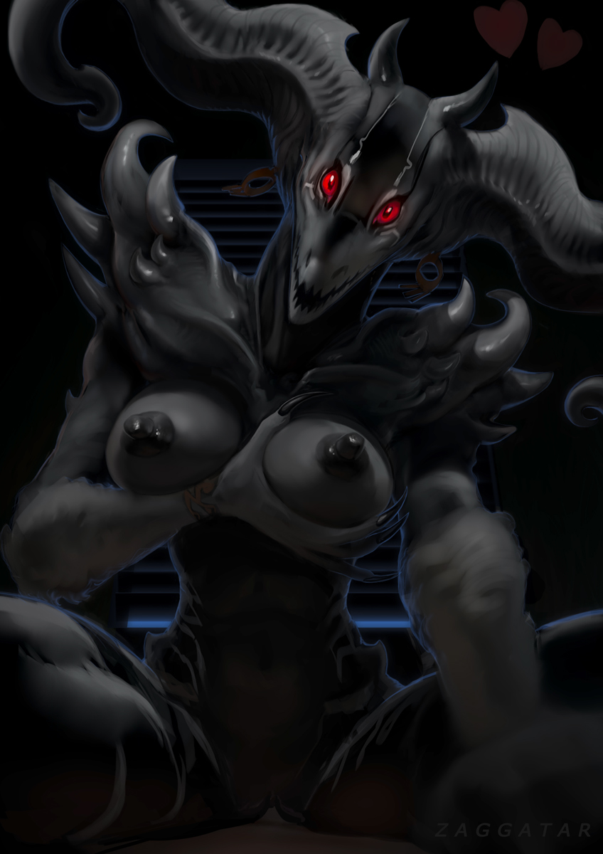 1girl bed bedroom big_horns bracelet breasts demon ear_piercing facial_markings hand_on_breast horn human jewelry male male/female mammal markings night nightmare_fuel paralyzed piercing red_eyes riding sleep_paralysis spikes straight_sex zaggatar