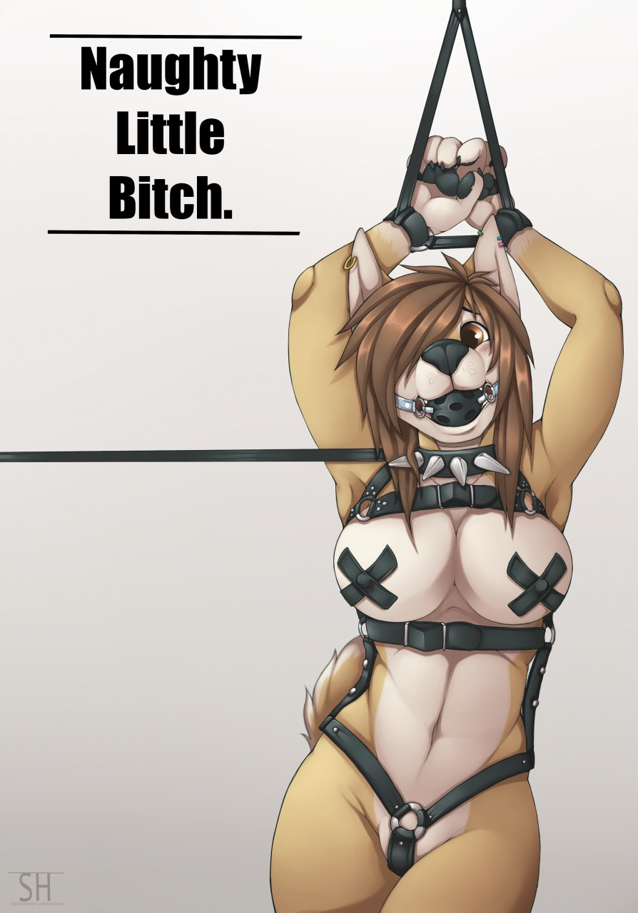 1girl anthro armpits ball_gag bdsm bound canine collar domination furry gag gagged harness leash mammal nipple_tape pasties piercing spazzyhusky straps tape text wolf