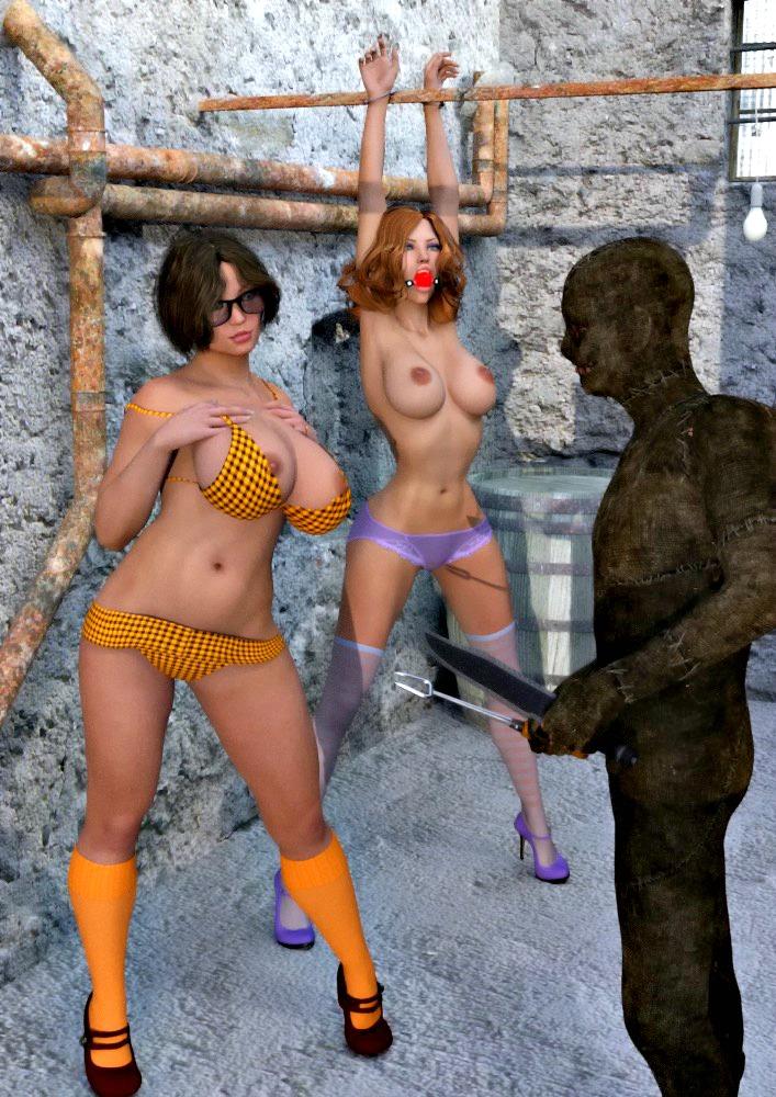 3d big_breasts bondage daphne_blake gag high_heels nipples panties scooby-doo shoes socks stockings velma_dinkley