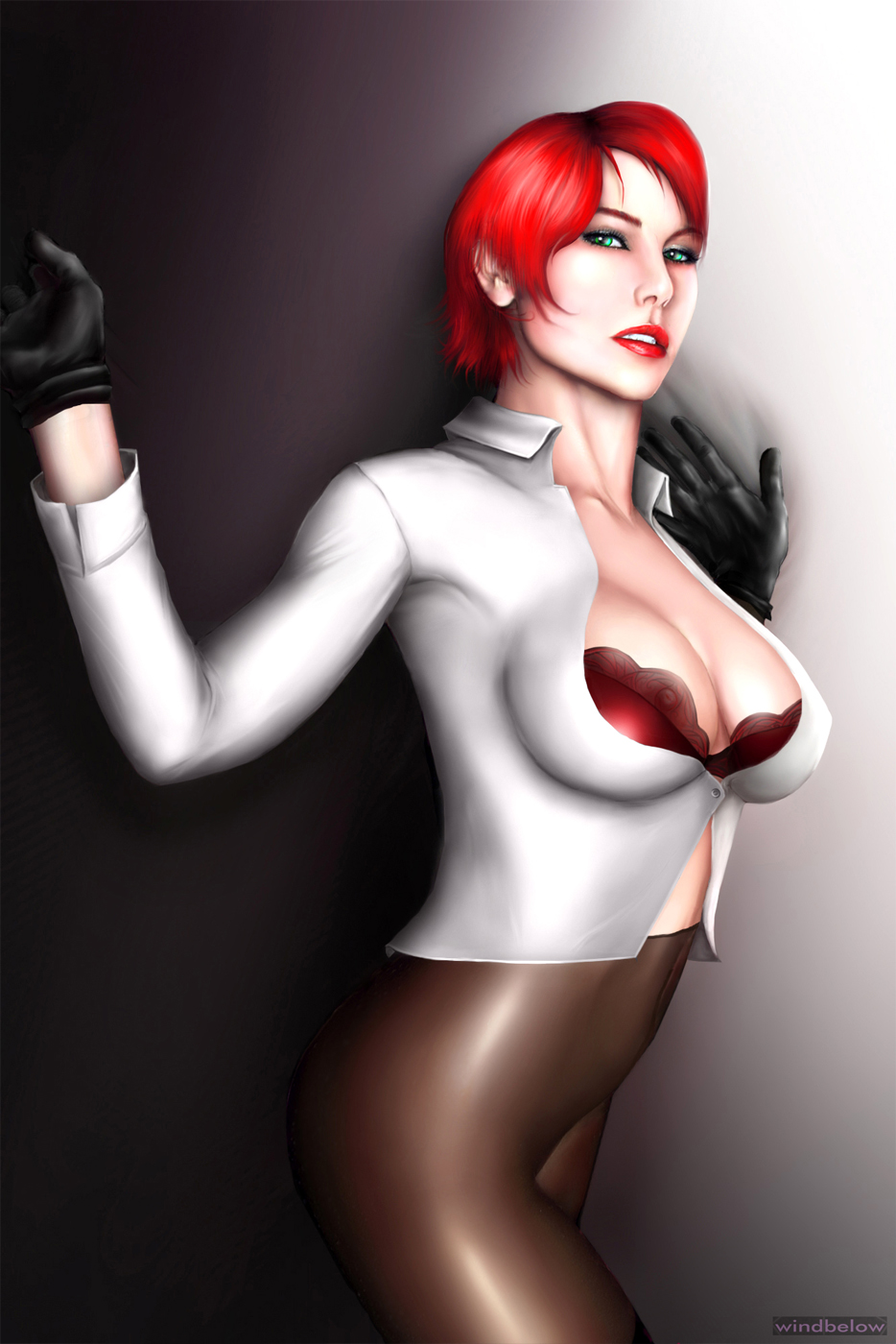 bra cleavage gloves king_of_fighters red_hair vanessa windbelow_(artist)