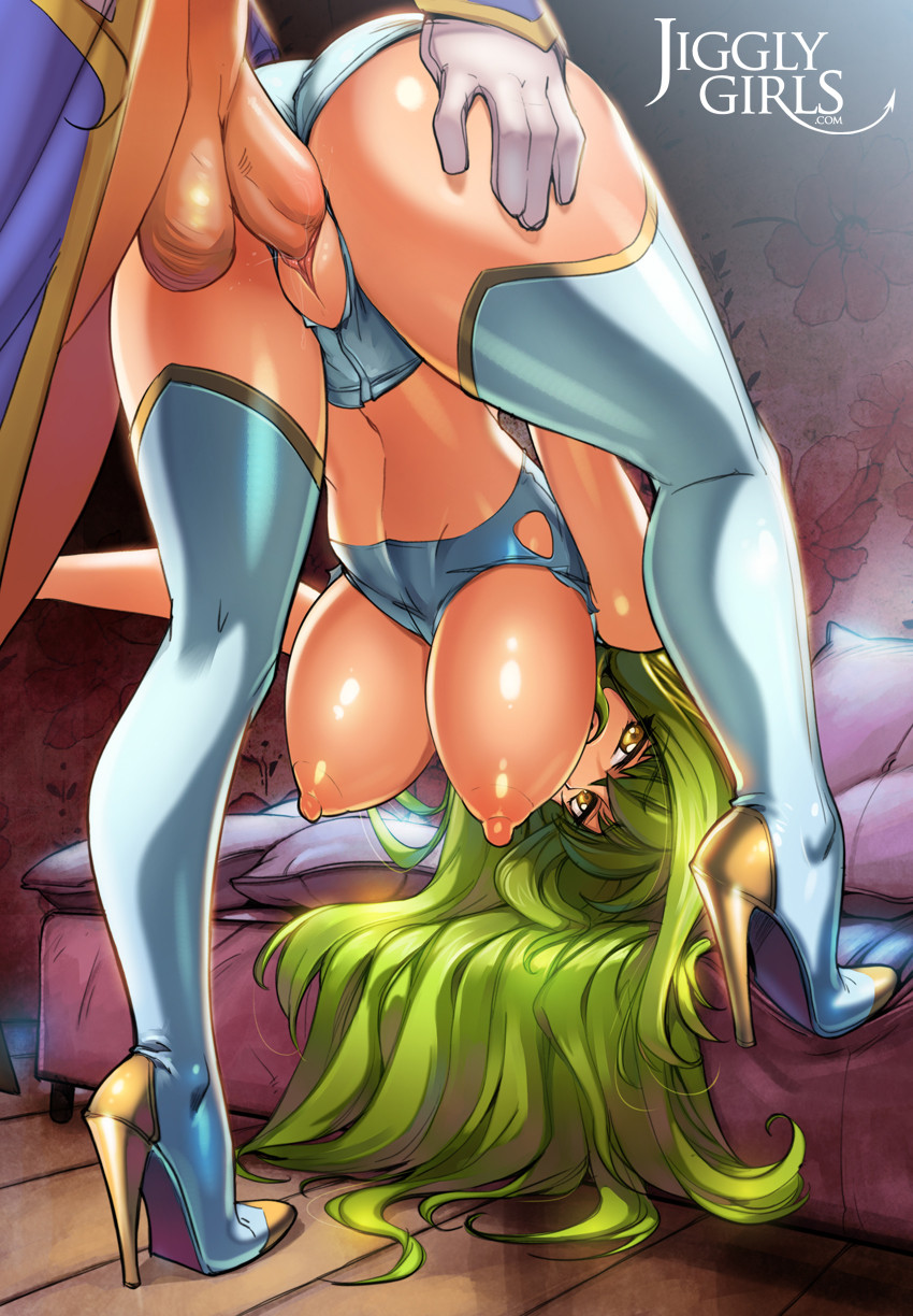 1boy 1girl ass ass_grab belly bent_over c.c. code_geass cum green_hair high_heels jigglygirls long_hair male navel open_mouth penis pussy reiq sex shoes testicle thigh_high_boots tongue torn_clothes vaginal_penetration yellow_eyes
