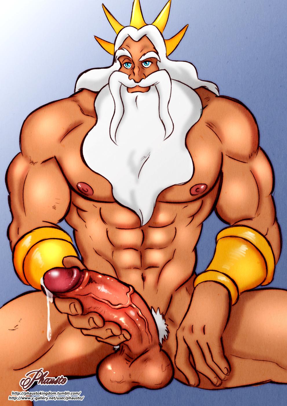 1_boy 1_human 1_male 1boy 1male 1man abs beard big_penis disney erect_penis erection huge_penis human king_triton mature mature_male muscle muscles penis precum testicle testicles