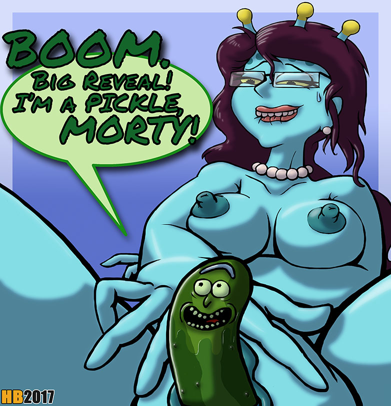 1girl alien blue_skin breasts hentai_boy lip_bite masturbation nude pickle pickle_rick pussy rick_and_morty rick_sanchez unity
