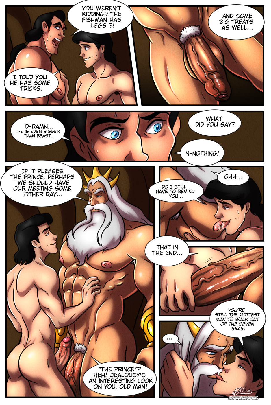 3_boys 3_humans 3_males 3boys 3humans 3males ass beard big_penis butt disney english_text erect_penis erection gaston gay huge_penis human king_triton kissing large_penis licking_nipples male male/male male_only mature mature_male muscle muscles naked nude old_man older_male older_on_younger older_younger penis phausto prince_eric sex trio
