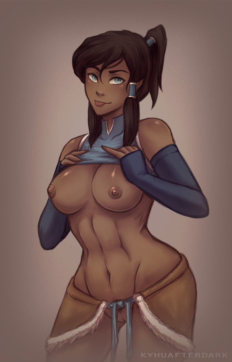 1girl big_breasts breasts clothed clothing human korra mammal notfurry presenting pussy the_last_airbender:_the_legend_of_korra