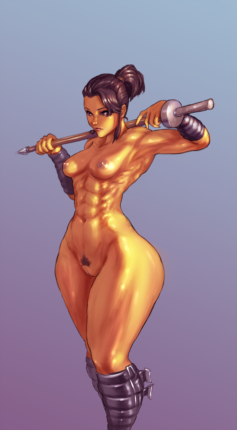 1girl 1girl areola breasts cutesexyrobutts female_pubic_hair gradient_background musclesthick_thighs navel nipples nude original ponytail pubic_hair pussy shiny_skin simple_background standing star_wars star_wars:_the_old_republic
