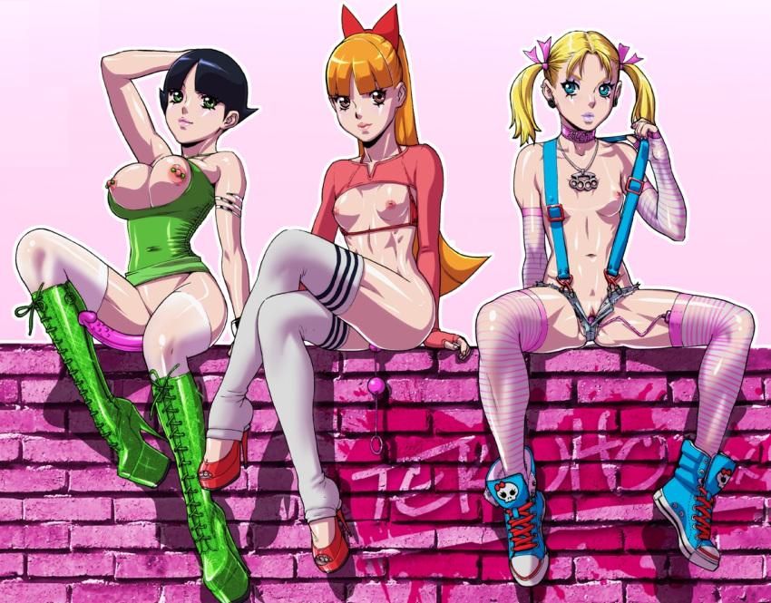 3girls blonde blossom boots bubbles buttercup dildo high_heels multiple_girls powerpuff_girls stocking tekuho tekuho_(artist) vibrator