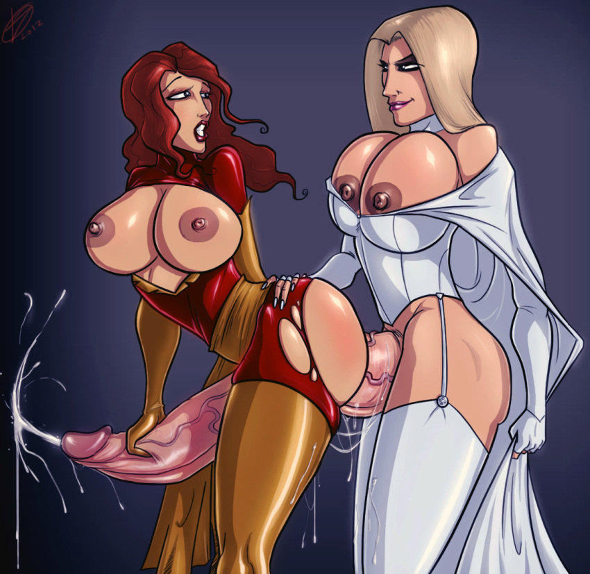 breasts devil_hs emma_frost futanari jean_grey marvel nipples white_queen x-men