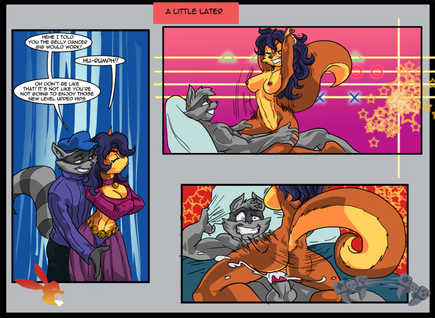 belly_dancing black_hair carmelita_fox comic earring funny furry hetero mask sly_cooper sly_cooper:_thieves_in_time sly_cooper_(series) video_game