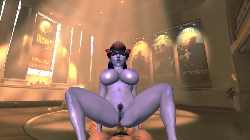 1_guy 1boy 1female 1girl 1male 3d anal big_breasts breasts closed_eyes duo feet female foot fucking games girls hair head_gear human legs legs_spread male nipples nude open_legs oral overwatch penis purple_hair purple_skin pussy pussy_hair pussy_lips render riding_penis sex shaved_pussy soles spread_legs spreading text toes video_games widowmaker xnalara xps