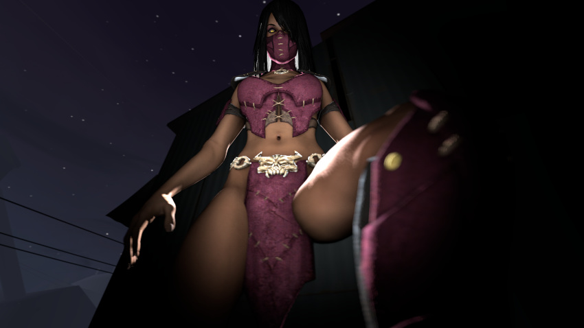 1girl 2spooky4fap 3d belt black_hair boots brunette cgi clothed clothes comrade_lenin flashlight glowing_eyes hair looking_at_viewer looking_down mask mileena mortal_kombat necklace ninja ninja_mask pov purple_clothes purple_mask shiny shoulder_pads source_filmmaker stepped_on yellow_eyes