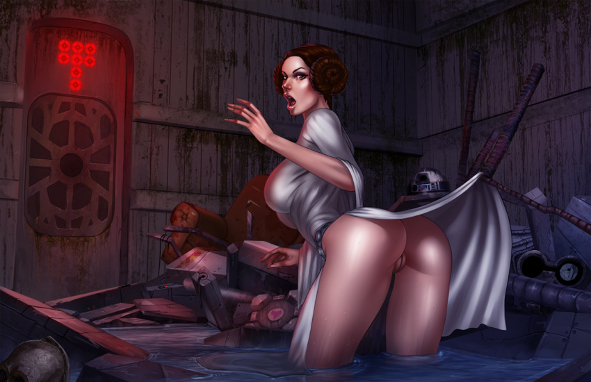 ass big_ass big_breasts breasts brown_eyes brown_hair companion_cube dress evulchibi female no_panties open_mouth portal princess_leia_organa pussy r2-d2 skirt_lift solo star_wars wardrobe_malfunction