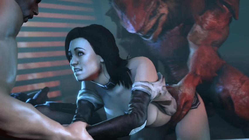1girl 3d alien breasts commander_shepard dark_hair gif hazard3000 krogan male mass_effect miranda_lawson sex source_filmmaker urdnot_wrex