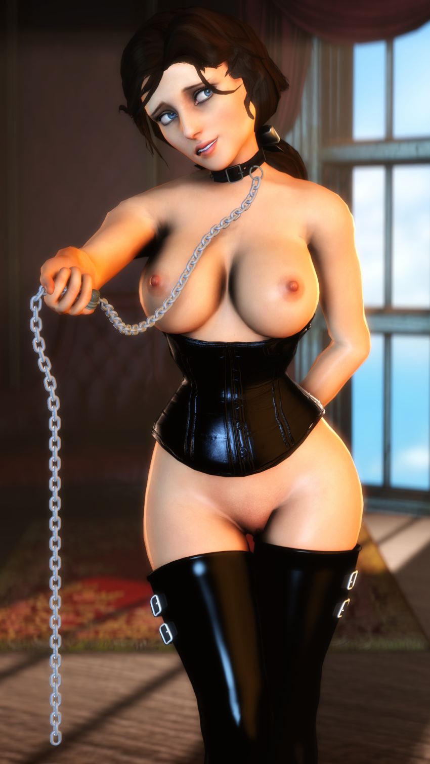 1girl bioshock bioshock_infinite bondage breasts corset elizabeth leash pussy stockings