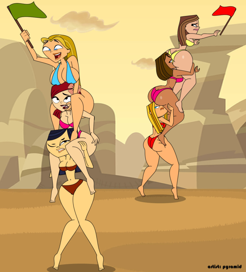 6_girls ass big_breasts big_hips blaineley breasts carry comic courtney dat_ass emma lindsay look_down orgy pussylicking pyramid_(artist) sweat swimsuit taylor_(the_ridonculous_race) the_ridonculous_race total_drama_island voluptuous yuri zoey