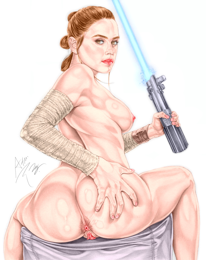 1girl actress anus armando_huerta ass ass_grab bare_shoulders big_breasts breasts brown_eyes brown_hair celeb colorization daisy_ridley dat_ass disney energy_sword female_only hair_bun high_resolution large_ass legs lightsaber long_hair nipples potential_duplicate presenting pussy pussy_lips rey sideboob star_wars star_wars:_the_force_awakens sword the_force_awakens thighs tied_hair topless very_high_resolution weapon