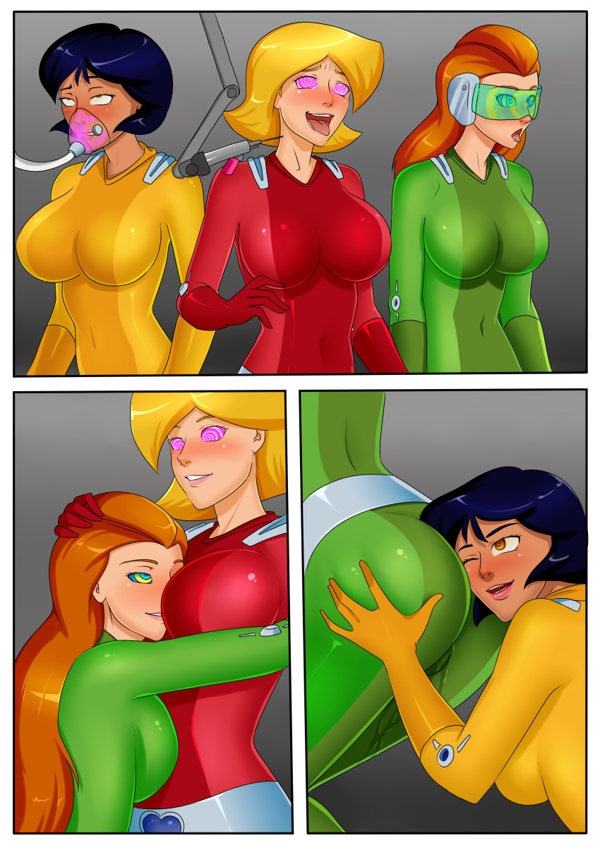 alex ass big_ass big_breasts bodysuit breasts clover comic gas_mask hypnotic_accessory hypnotic_drug injection mind_control oo_sebastian_oo_(artist) sam syringe totally_spies visor yuri