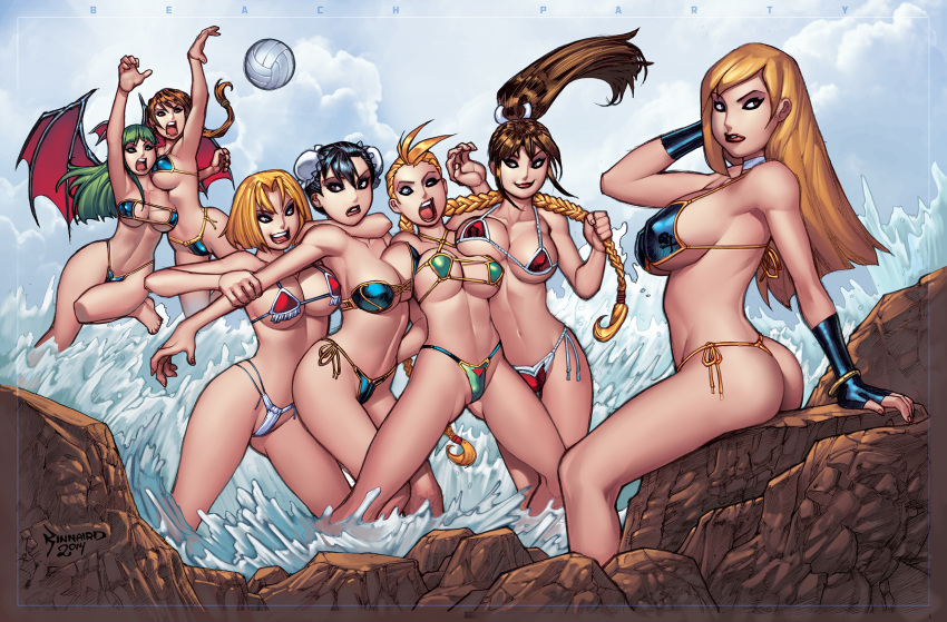 7_girls ass beach beach_ball bikini blue_mary bonne_jenet breast_press breasts cammy_white capcom chun-li cleavage crossover hair_pull mai_shiranui morrigan_aensland multiple_girls ocean rocks ryankinnaird_(artist) snk thong volleyball yuri_sakazaki