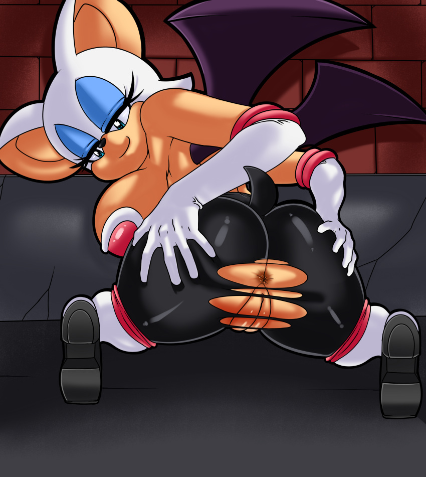 1girl anthro anus bat clothing dreamcastzx1 furry mammal pussy_lips rouge_the_bat sega tight_clothing torn_clothing