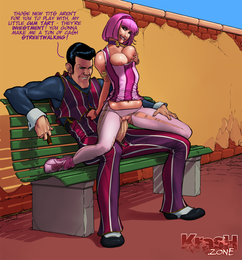 1boy 1girl areolae bench biting_lip breast_fondling breast_grab breast_implants breasts cigar cleavage cowgirl_position female full_body girl_on_top lazytown legio male nipples penetration pimp pink_hair prostitute riding robbie_rotten stephanie_meanswell teeth text vaginal vaginal_penetration