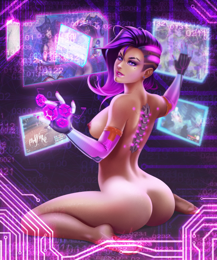 1_girl bare_shoulders barefoot big_breasts blizzard_entertainment breasts brown_hair dark-skinned_female dark_skin dat_ass elbow_gloves feet female_only gauntlets gloves high_resolution hips large_filesize legs long_hair multicolored_hair nipples overwatch prywinko_(artist) purple_eyes purple_hair sideboob soles sombra_(overwatch) thighs toes topless two-tone_hair very_high_resolution