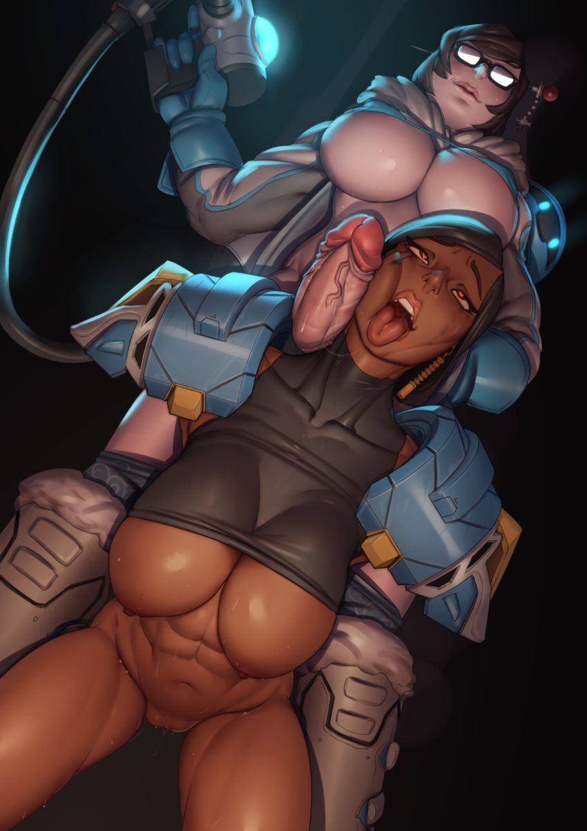2_girls abs ahe_gao arms_behind_back breasts dark_background futanari futanari_with_female glasses heart-shaped_pupils high_res john_doe mei_(overwatch) multiple_girls overwatch penis penis_on_face pharah pussy shirt_lift sweat toned
